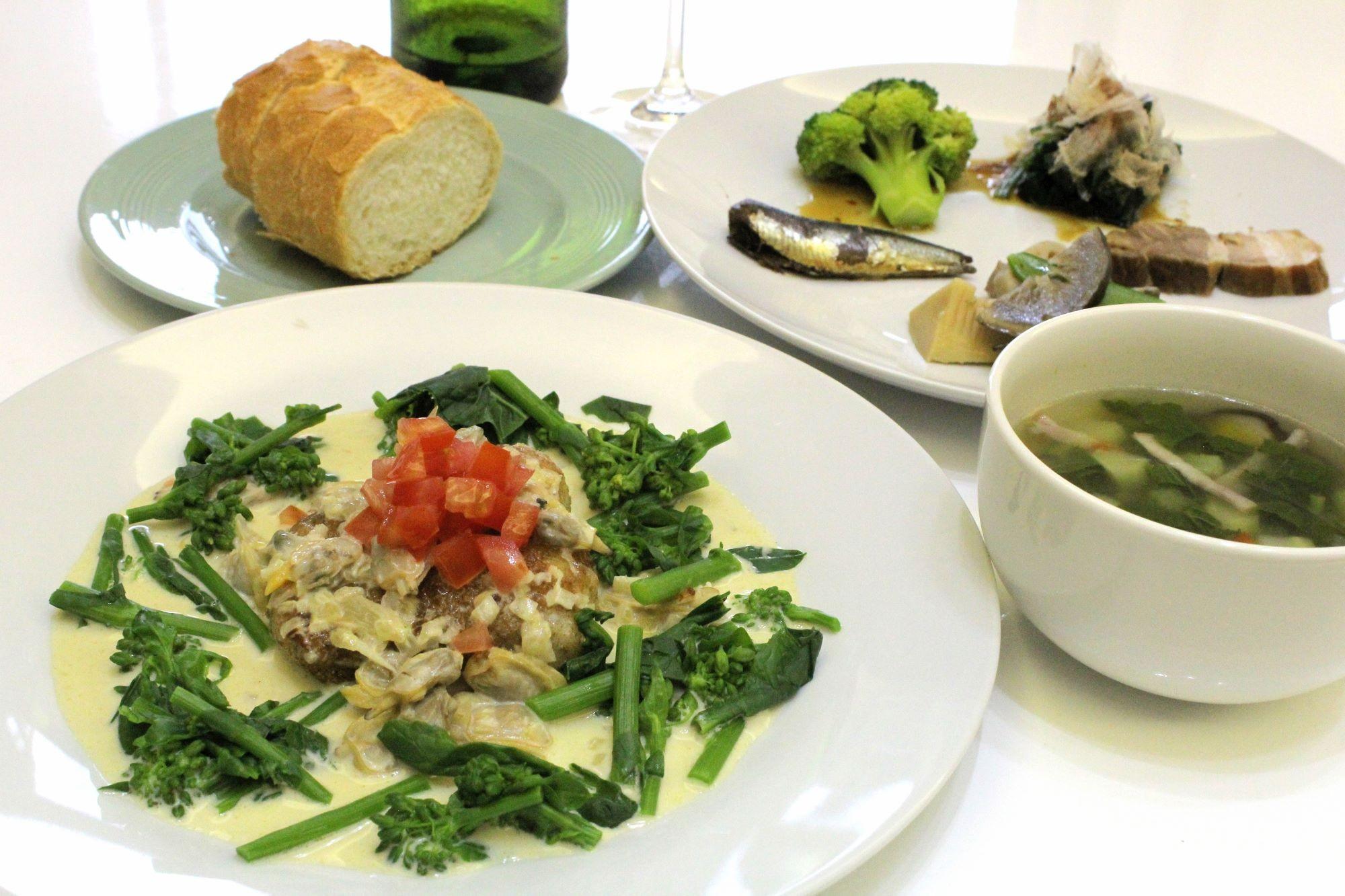 シタビラメのムニエル 菜の花添え アサリのヴァンブランソース
