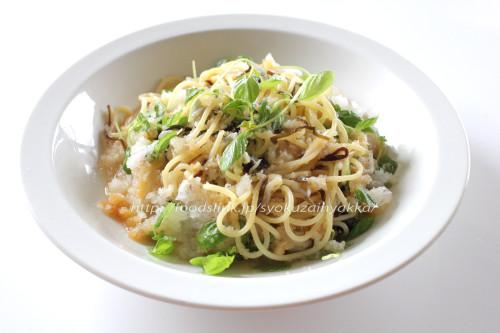 シラス干しと大根おろし、ペリーラの冷製スパゲッティ